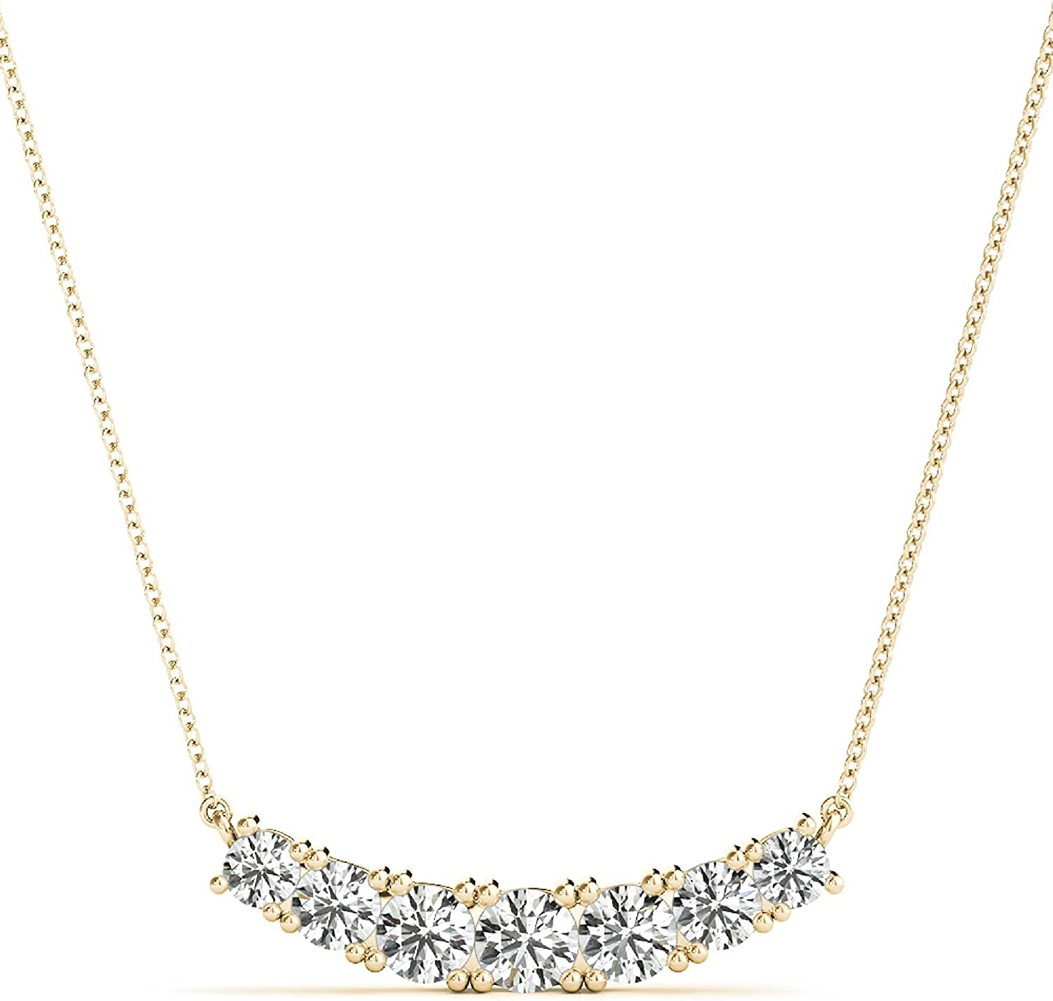Diamond Necklaces For Women 0.50 Carat 7 Stone Round Natural Diamond Classic Handmade Necklace 10K Rose White Yellow Gold Anniversary Birthday Best Gift Jewelry Collection