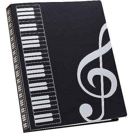 Dossier de partitions de musique - Dossier de rangement en plastique - Format A4 - Avec clé de sol - Noir