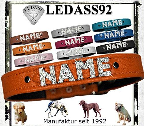 LEDASS92 Hundehalsband mit Namen Strass Halsband Name Strassbuchstaben Strasssteine (L - 35cm - 43cm Halsumfang verstellbar, orange)