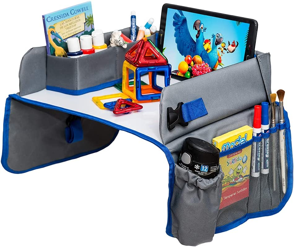 ADVO Kids Travel Tray Car Seat - Activity and Play Tray Organizer for Children and Toddlers, Lap Desk with Tablet Phone Holder, Waterproof and Foldable Whiteboard (Grey)