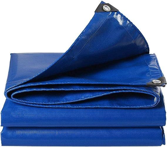 TARPCER Matériau épais Résistant Bleu De Moulin De Matériel De Couverture De Bache 6 Imperméable Grand pour Le Camion De RV De Bateau De Tente bleu- 10  12 m