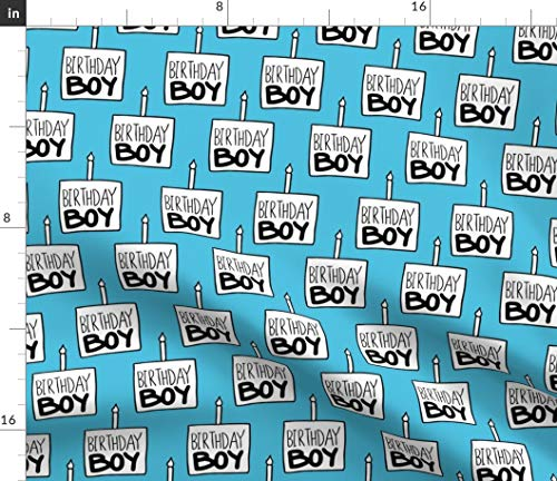 Spoonflower Fabric - Birthday Boy Blue Large Celebration Party Cake Candle First Printed on Modern Jersey Fabric by The Yard - Fashion Apparel Clothing with 4-Way Stretch