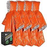 Bearhard Emergency Blanket Rain Ponchos with Hood | 4 Pcak Ultralight Waterproof Thermal Survival Space Blanket for Camping Hiking or Emergency Situations