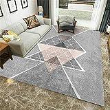 alfombras Bebe Gris Alfombra de salón Gris geométrica Retro patrón Suave Alfombra Duradera alfombras Infantiles 60X90CM alfombras de Comedor 1ft 11.6''X2ft 11.4''