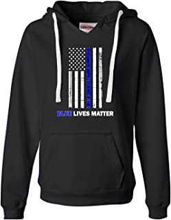 Womens Blue Lives Matter Thin Blue Line Support Police Deluxe Soft Hoodie
