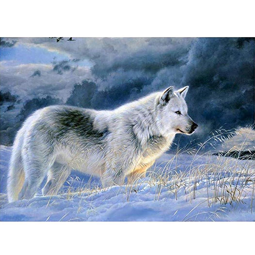 DIY 5D Diamond Painting Kit, Avton Full Drill Animal White Wolf Rhinestone Embroidery Cross Stitch Supply Arts Crafts Canvas Wall Decor (A)