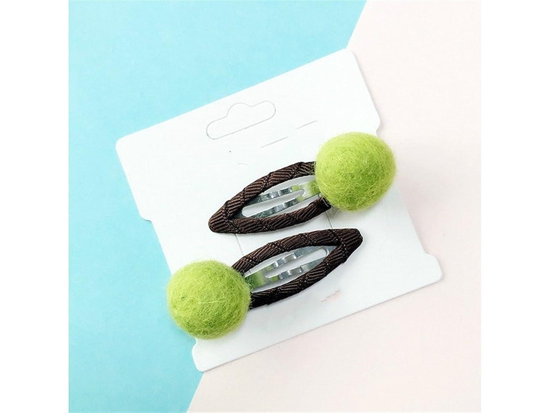 魅惑する医学スポンジOsize 美しいスタイル キャンディーカラーキュートフェルトレインボーボールヘアピンBBクリップサイドクリップヘアピン(ライトグリーン)