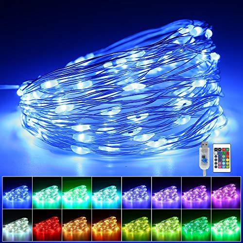 10M 100 LED Bunt Lichterkette Außen, 16 Farben USB Kupferdraht Lichterkette mit Fernbedienung & 4 Modi, IP65 Wasserdicht Farbwechsel Fairy Lights für Zimmer Garten Party Hochzeit Innen Deko