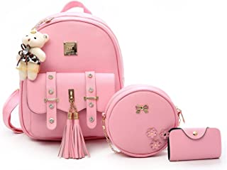 Floki Fashion Girls 3-PCS Fashion Cute Mini Leather Backpack sling & pouch set for Women/gift for girl