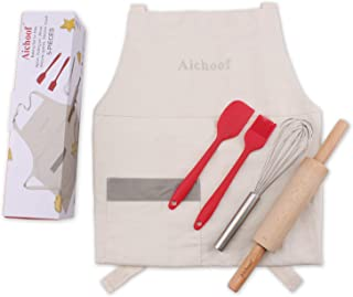 Aichoof Kids Baking set 5 pc Cooking Toolis for kids with Apron,Rolling Pin,Whisk,Silicone Mixing Spatula,Silicone Baking Brush