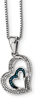 925 Sterling Silver Rhod Plated Blue White Diamond Heart Pendant Chain Necklace Charm S/love Fine Jewelry Gifts For Women For Her