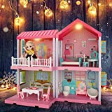 Dollhouse Dreamhouse Building Toys, Princess Doll House, Playset with Lights, Furniture, Accessories and Dolls, Cottage Pretend Play House Set, DIY Creative Gift for Girls Toddlers, Pink(4 Rooms)