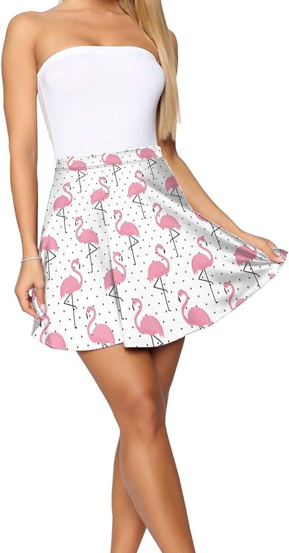 JJCSTE.C Polka Round and Pink Flamingo Women's Skater Skirt High Waist Short Skirt