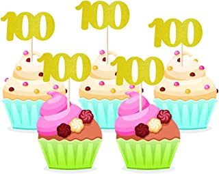 Homy Feel 48 Pieces 100 Number Gold Glitter Birthday Cupcake Toppers,100th Cupcake Picks Mini Cake Decorations for Birthday Party Supplies