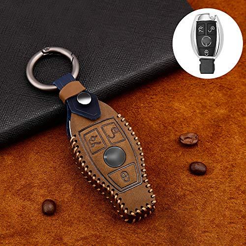 ontto Rindsleder Autoschlüssel Hülle Cover für Mercedes A B C E S R CLK Klasse W211 A203 W164 W204 W245 CLA GLC Schlüsselhülle mit Schlüsselanhänger Schlüssel Schutz Etui Fernbedienung 3 Tasti-Braun