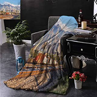 ZSUO Fur Throw Blanket Downtown Salt Lake City Skyline in Utah USA Railroads Mountains Buildings Urban Reversible Soft Fabric for Couch Sofa Easy Care 50