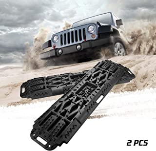 BUNKER INDUST Off-Road Traction Boards with Jack Lift Base, 2 Pcs Recovery Tracks Traction Mat for 4X4 Jeep Mud, Sand, Snow Traction Ladder-Black Tire Traction Tool