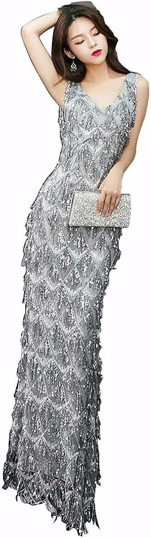 Backless Sexy Mermaid Dress Deep V Neck Sleeveless Sequin Long Evening Dress (Size   XL)