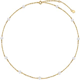 SISGEM Solid 14K Gold Pearl Necklace for Women Girls Freshwater Cultured Pearl Choker Necklace Station Tin Cup Pearl Neckl...