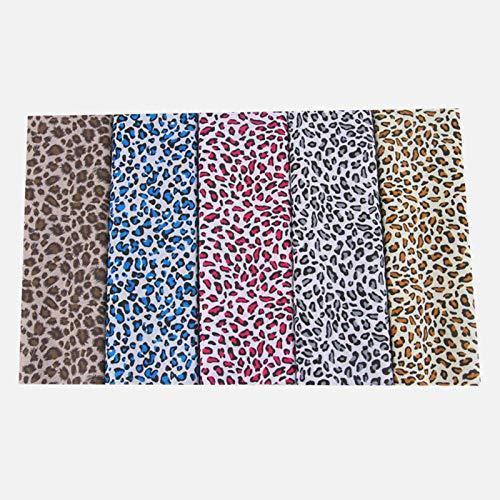 earlyad 5 Stück Baumwollstoff Mit Leopardenmuster DIY Handgemachte Patchwork Stoff Baumwollstoff Meterware Stoffe Zum Nähen