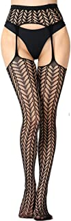 NYKKOLA Women's High Waist Fishnet Tights Suspender Pantyhose Thigh High Stockings, Lace Patterned One Size