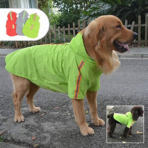 lovelonglong Modischer Regenmantel für Haustiere, mit Kapuze, leicht, mit Reißverschluss, Regenponcho mit reflektierendem Streifen für kleine, mittelgroße und große Hunde, Grün, XXXXL