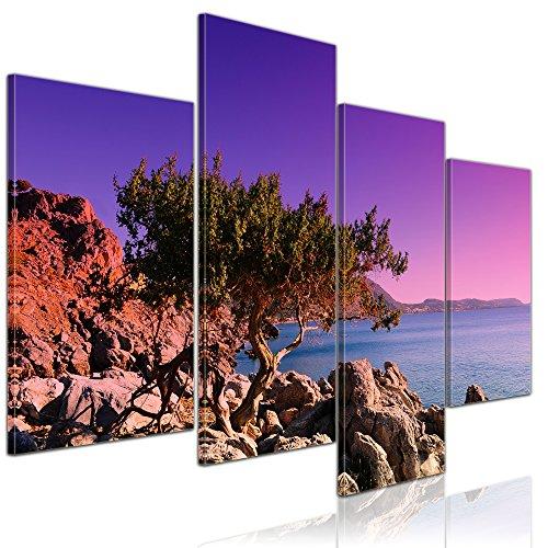 Bilderdepot24 Bild auf Leinwand | Mediterraner Baum auf Rhodos - Griechenland in 120x80 cm 4 TLG. als Wandbild XXL | Wand-deko Dekoration Wohnung modern Bilder | 15072