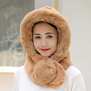 WZHZJ Hat Woman with Thick Warm Winter Heavy Hair Ball Earmuffs Scarf One Full Face Plush Hat Cycling Warm Hat