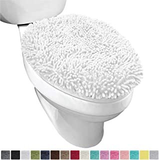 Gorilla Grip Original Shag Chenille Bathroom Toilet Lid Cover, 19.5 x 18.5 Inches Large Size, Machine Washable, Ultra Soft Plush Fabric Covers, Fits Most Size Toilet Lids for Bathroom, White