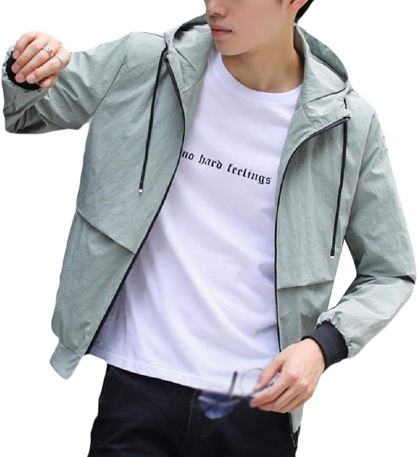 0feef8d80 Winme Winme Winme Men's Slim Wrap Solid color Casual Hooded Autumn ...