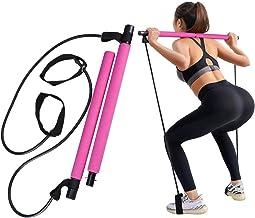 GrandEver Draagbare Pilates Bar Kit met weerstandsband,Yoga Pilates Stick Yoga Oefening Bar met voetlus voor Full Body Wor...