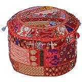 Stylo Kultur Baumwolle Patchwork gestickte osmanische Hocker Pouf Abdeckung Red Floral