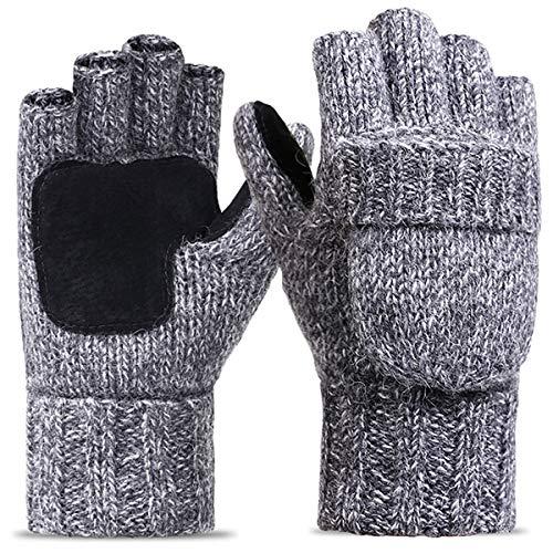 ECOMBOS Winter Fingerlose Gloves - Damen Strickhandschuhe Handschuhe Strick Fingerlose Handschuhe mit Fäustlings Klappe- Einheitsgröße, Hellgrau