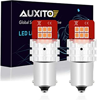 1156 LED Bulb Amber, AUXITO 7506 1141 P21W BA15S Super Bright 2835 SMD LED Replacement Bulbs for Turn Signal Blinker Lights, Set of 2