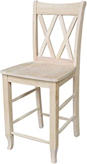 International Concepts 24-Inch Double X Stool, Unfinished