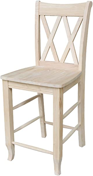 International Concepts S 202 24 Inch Double X Stool Unfinished