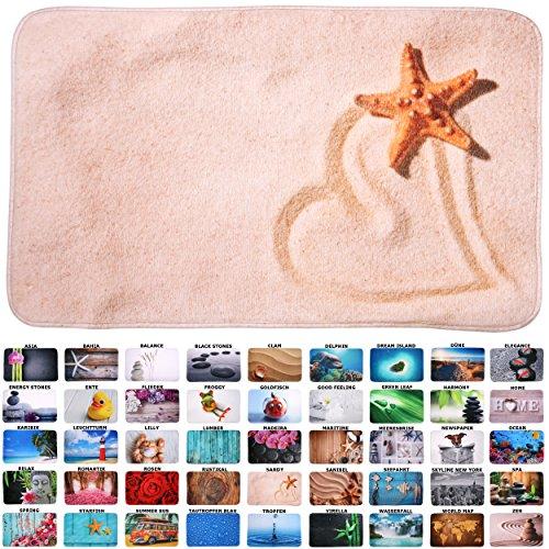 Sanilo Badteppich I viele schöne Badematten zur Auswahl I Badvorleger sehr weich und rutschfest I waschbar und schnelltrocknend (50 x 80 cm, Sandy)