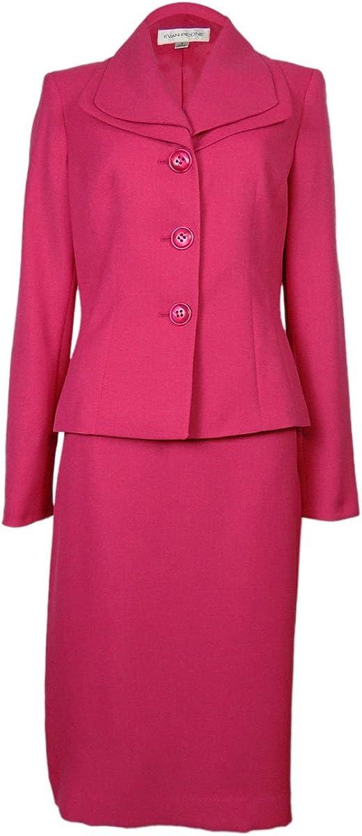 Evan Picone Women's Piece Double Collar Jacket Skirt Suit Set, Daisy Pink (10)