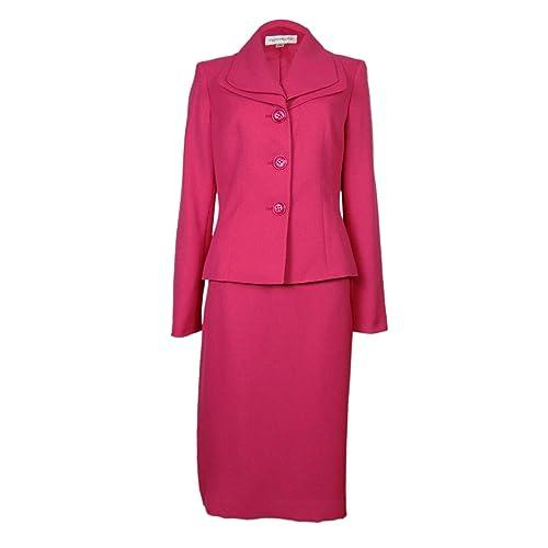 Evan Picone Womens Work Smart Textured Skirt Suit