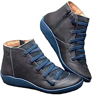 Womens Ankle Boots Waterproof Cofy Lightweight Leather Stacked Slip On Short Ankle Booties