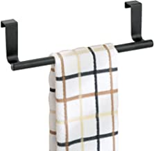 mDesign Decorative Metal Kitchen Over Cabinet Towel Bar - Hang on Inside or Outside of Doors, Storage and Display Rack for...