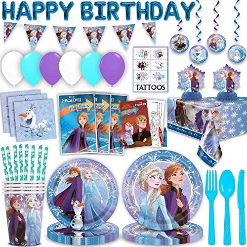 Best Bargain Disney Frozen II Birthday Party Supplies for 16 - Large Plates, Small Plates, Napkins, ...