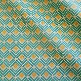 Stoff Meterware Baumwolle grün gelb Karo Winkel Türkis