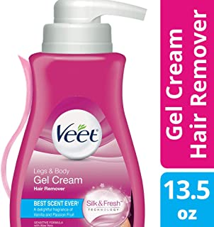 Hair Remover, Veet Gel Hair Removal Cream Sensitive, 13.5 Ounce, Sensitive formula with Aloe Vera and Vitamin E