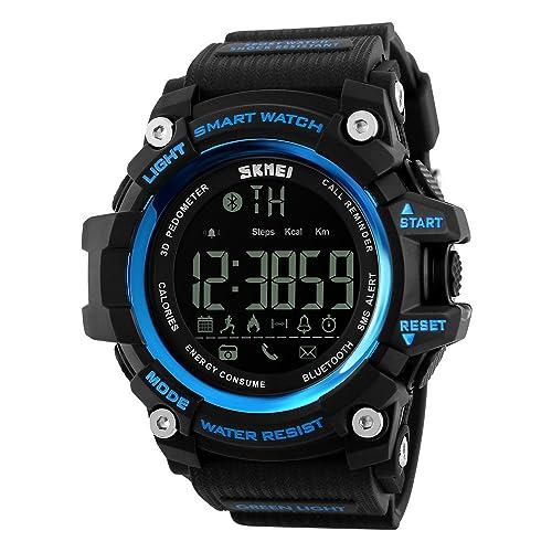 7b2f1164b Bounabay Men's Multifunctional Digital Sport Watch with Bluetooth  Pedometer, 5ATM waterproof