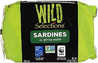 WILD SELECTIONS Sardines in Spring Water, 3.75 Ounce (Case of 12), Wild Sardines, Canned Sardines, High Protein, Gluten Fr...
