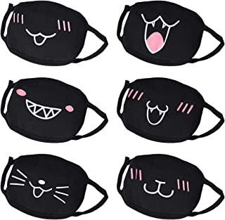 Máscara de Boca, máscara de algodón para la Cara, AIEVE, Paquete de 6 máscaras Unisex Antipolvo, máscara de Anime, Kawaii, máscara para la Cara para niños, Adolescentes, Hombres y Mujeres, Negro