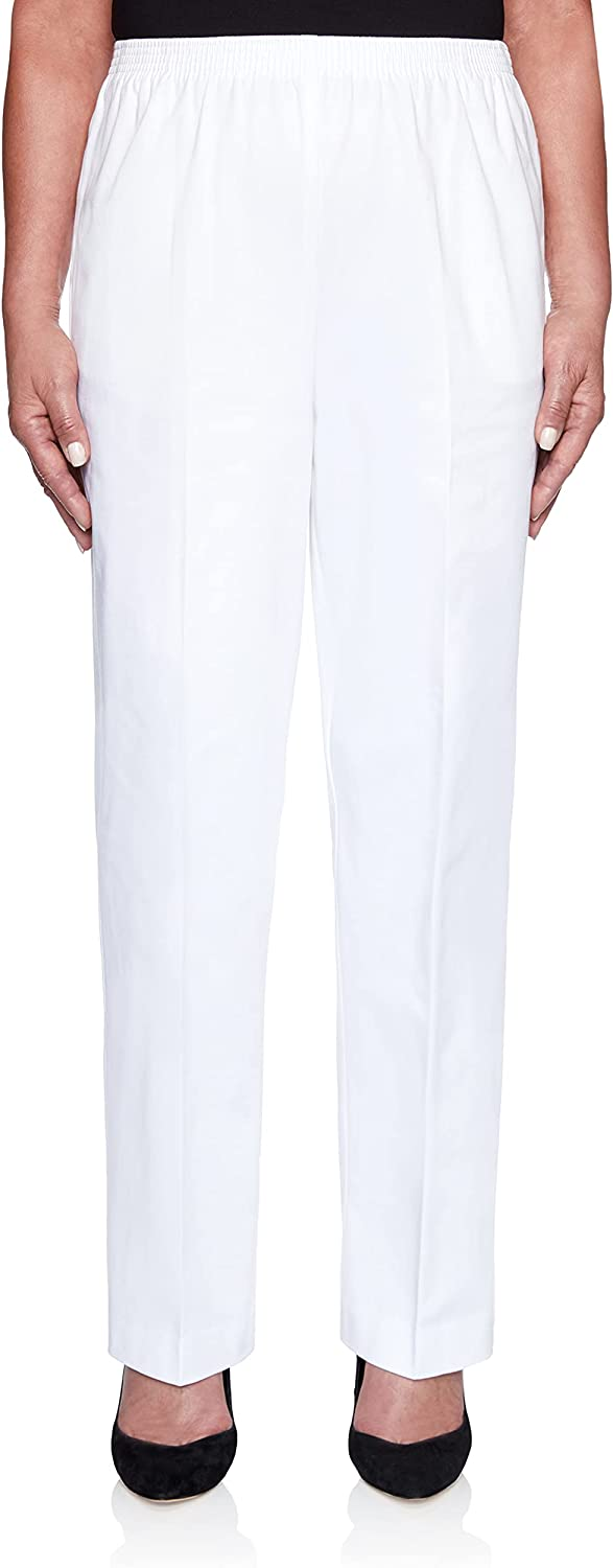 Alfred Dunner Women's Size Plus-sizewomen's Soft Twill Mid-Rise Fit Straight Leg Regular Length Casual Pant