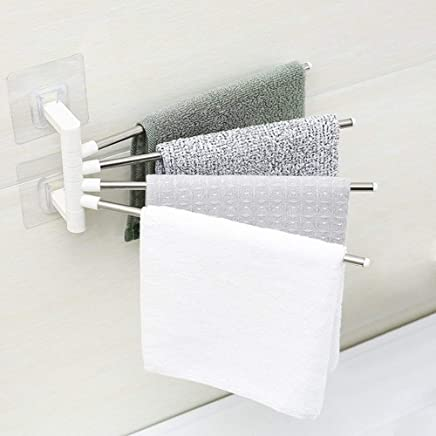STOP 'N' BUY 4 Bars Stainless Steel Towel Rack with Wall Stick Adhesive Pads for Kitchen Bathroom.