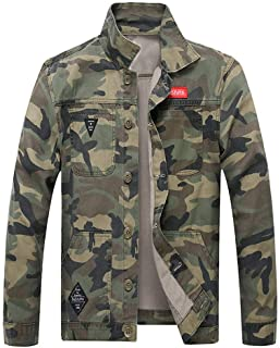 Sunward Stylish Coat for Men,Men's Autumn Winter Casual Long Sleeve Turn-down Collar Camouflage Denim Jacket